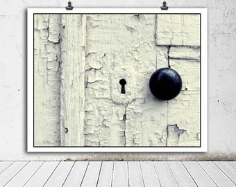 White door photo, Rustic decor, country decor, door knob, black and white art, home decor, vintage door photo, weathered door, chipped paint