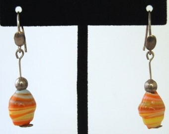 Hip 80's ice cream sherbet glass & sterling summer dangles, mod beach earrings, 925 silver with hand blown orange and white swirl art glass
