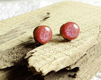 Wooden studs 11 mm, surgical steel posts, wood ear studs, small studs, ear studs, hypoallergenic earrings (0284)