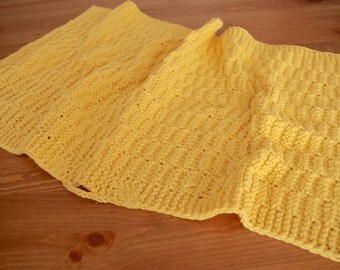 Hand Knitted Kitchen Towel - Bath Towel - Bright Yellow 100% Cotton Yarn Dishcloth - Hand Knit Dish Towel