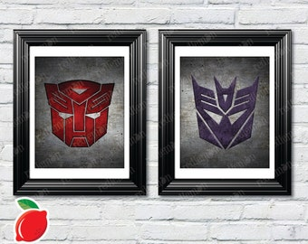 Transformers : Autobot & Decepticon Symbols Set of 2 Themed Art Prints