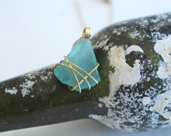 Turquoise and Silver Sea Glass Pendant