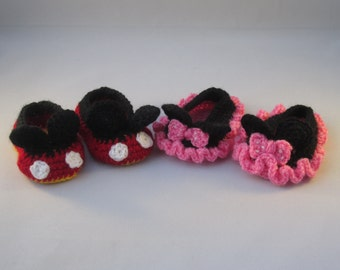 His n' Hers Handmade Crocheted Little Black Mouse Baby Booties/ Baby Shower Gift/Easter Gift