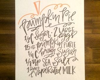 Pumpkin Pie Recipe, Handlettered, Printable, Digital Download