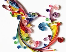 "Quilled Paper Art: ""Colourful Hummingbird"" - Handmade Artwork - Paper Wall Art - Home Decor - Wall Decor - Home Decoration - Quilled Art"