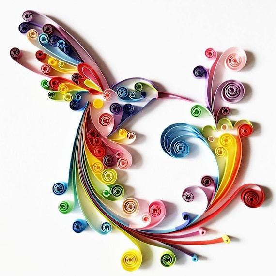 Art du papier piquants: « Hummingbird colorée » - la main oeuvre - papier mural Art - Déco maison - Wall Decor - décoration de la maison - Colombine Art