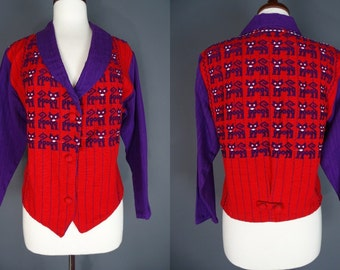 Cat Jacket.......Red And Purple Woven Jacket With Kitty Pattern