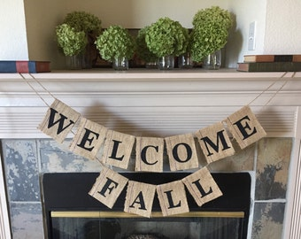 Welcome Fall banner, Burlap Banner, Custom Banners