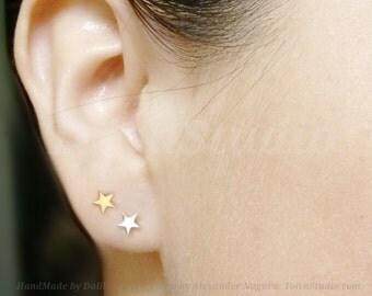 white Gold star studs-gold star Earrings-Star post Earrings-Gold Post Earrings-Minimalist