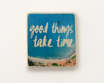 4.5x5 Inspirational Photo Transfer onto Wood