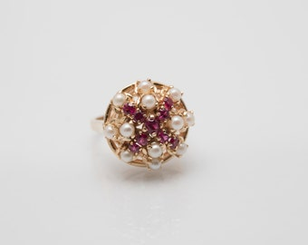 14kt Yellow Gold Estate Pearl and Ruby Ring