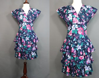 80's Dress....80's Ruffled Tiered Floral Summer Dress