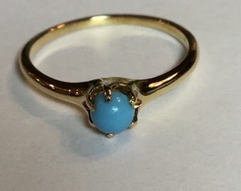 Vintage Victorian 4mm Turquoise Ring in 10k Yellow Gold