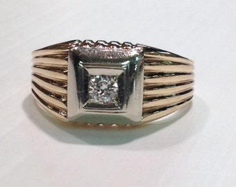 Vintage Mid Century 14k Gold Diamond Mans Ring