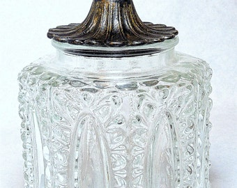 Vintage Glass and Metal Bath Container or Jar