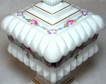 Vintage Hand Painted Milk Glass Dish on a Pedestal