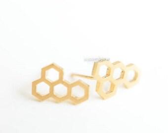 Gold Honeycomb Stud Earrings