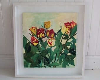 bead embroidery - rose mixed media - yellow flower painting - red textile art - framed textile art - large square canvas