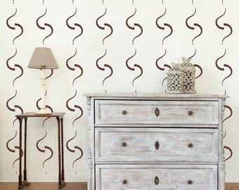 Curves Wall Stencil, Wall Art Stencil  in reusable Mylar, wall art, small to large stencils up to 19.5 x 27.5 inches.