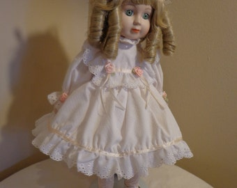 "Gorham , ""Dolls of the Month"", Bisque Scandinavian Doll, 1990, Pink Rosebud Decor Porcelain Doll with Blonde Curly Locks"