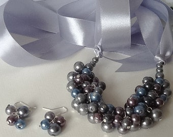 Vintage Look Pearl Cluster Bridal Necklace with Matching Earrings