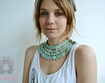 Green Crochet necklace for every occation
