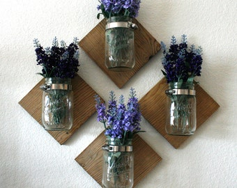 Set of 4 Wall Mounted Mason Jar Vases. Home Decor. Flowers. Rustic Home. Mason Jar. Wood. Wall Decor.