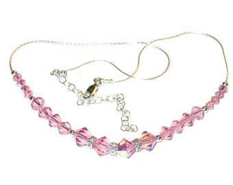 LIGHT ROSE PINK Crystal Necklace Sterling Silver Swarovski Elements