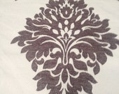 Heirloom Chocolate Chenille Floral Emblem Fabric for upholstery, drapery, and bedding.