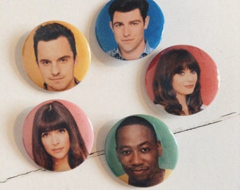 New Girl Pinback Button Set of 5 (31mm)