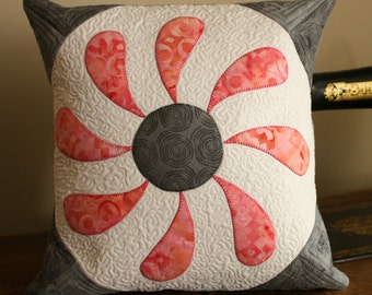 """SALE  12"""" Quilted Cushion Cover - Flower Box"""