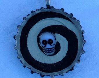 Black Swirl Skeleton Pendant