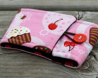 Reusable Coffee Sleeve - Coffee Cozy - Cup Holder - Cup Sleeve - Cupcakes & Cherries - Tea Lover Gift - Teacher Gift