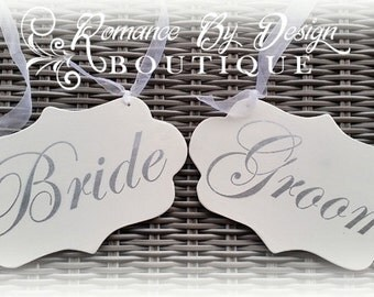 Bride and Groom  Silver Wedding Chair Signs