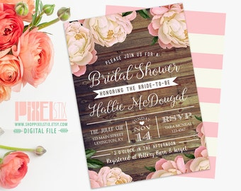 Rustic Bridal Shower Invitation, Vintage Peony Barn Wood Style, Pink and Brown, Country Western Invite - PRINTABLE DESIGN
