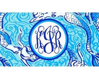 Mermaid License Plate. Monogrammed Mermaid Car Tag. Monogrammed Mermaid License Plate.