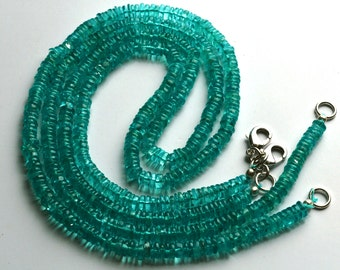 1 Stand Natural Gem 100 Carets 16 Inch Strand Super Finest-Quality-Sky Blue Green Apatite HEISHI Wheel Shape Cut Beads Necklace  4 MM