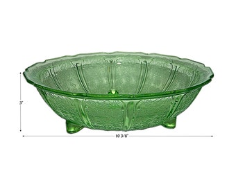 Jeannette Cherry Blossom Green 3 Footed Console Bowl