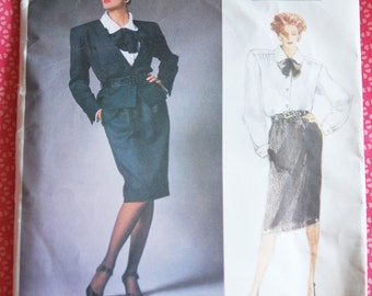 1980s Yves Saint Laurent Vogue Paris Originals #1784 Jacket Skirt Blouse Pattern