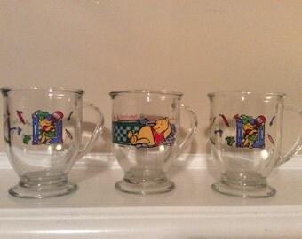 Three Winnie the Pooh Glass Mugs with Handles, Disney.