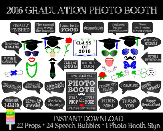 ... Graduation Photo Booth Sign-Class of 2016 Props-Graduation Printables