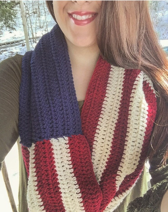 American Flag Crochet Scarf by AllSouthernCrochet on Etsy