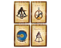 Antique Sailing Sextant Octant Orrery Astrolabe Collection Digital Collage Sheet JPG PNG Images Instant Download Cards Tags Printout  MI06