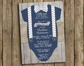 Boy Baby Shower Invitation Navy Blue Gray Bow Tie Suspender Burlap Chevron Polkadot Wood Shabby Rustic Printable Digital I Customize For You