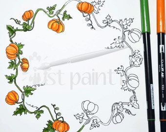 Pumpkin Wreath Coloring Page Instant Download Fall Coloring Page Digital Download
