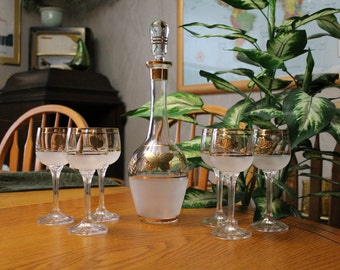 Vintage Decanter with Matching Glasses - Mid Century Modern Barware - Vintage Wine Decanter with Matching Glasses - Butterfly Wine Glasses