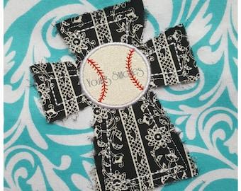 Raggy Cross Baseball 5x7 Embroidery Design