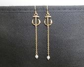 Anchor earrings, Anchor drop earrings, Anchor pearl earrings, earrings, anchor, beach, nautical, dangle, cute earrings