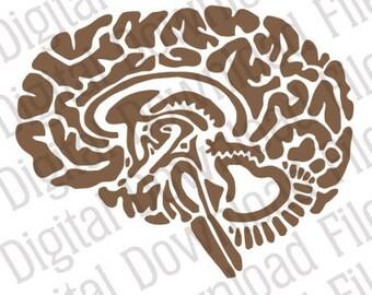 Brain Stencil Etsy