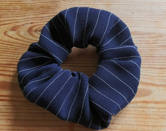 Navy Blue with White Pinstripe Hair Scrunchie in Vintage Material